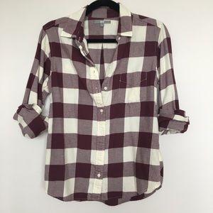 Uniqlo Burgundy Plaid Flannel Shirt